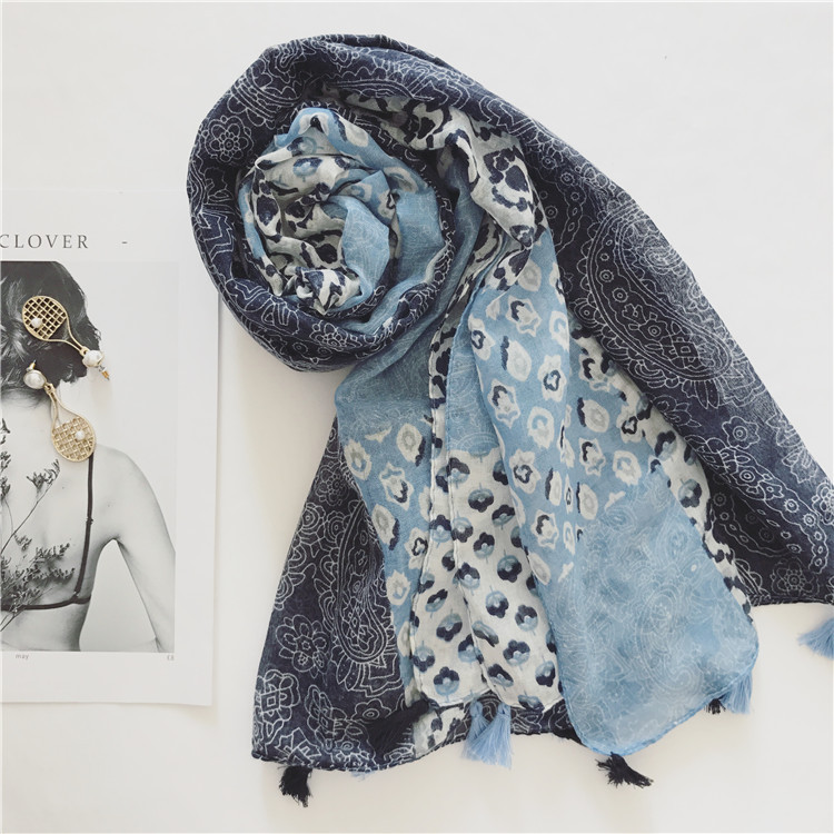 SF17211061 Lady scarf retro art small floral long thin soft and breathable cotton scarf shawl female sunscreen scarves