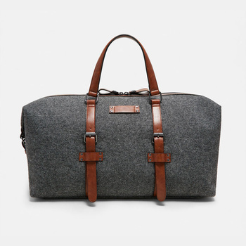 PU leather trim travel mens duffel duffle weekender canvas overnight bag