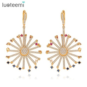 LUOTEEMI Women Bohemia Style Multi Cubic Zirconia Paved Unique Big Ferris Wheel Dangle Drop Earrings