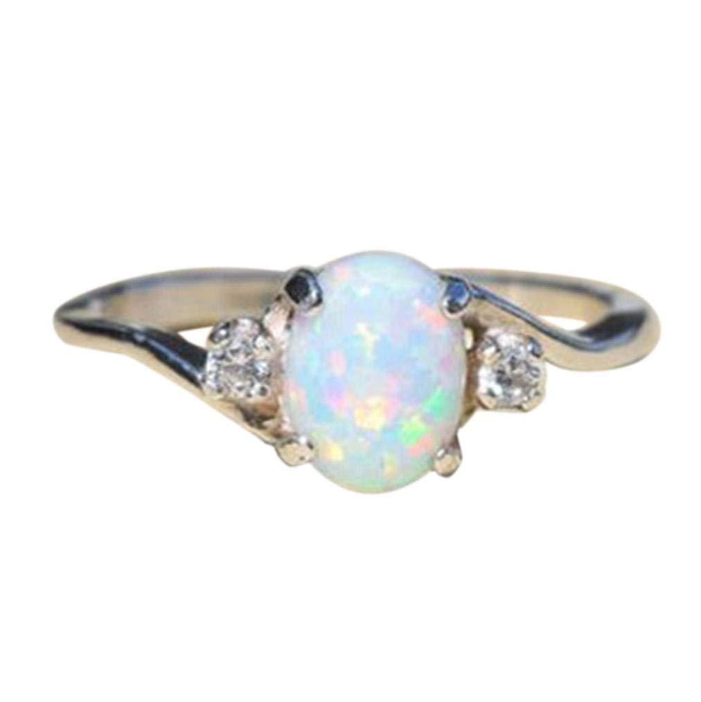 Clearance Rings Daoroka Women Sterling Silver Rings Oval Cut Fire Opal Diamond Band Rings Jewelry Gift 2018 Hot Sale (8, Silver)