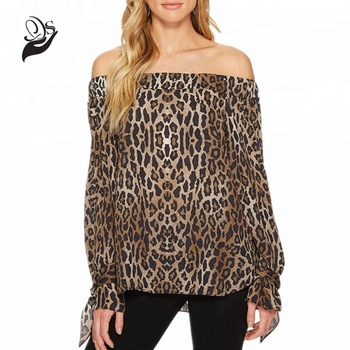 71bbbb0220fd Long Sleeve Off The Shoulder Leopard Print Blouses And Tops - Buy ...