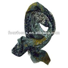 lady flower printed viscose scarf