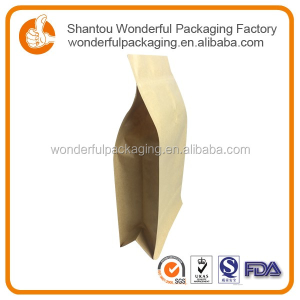 Safe material custom printed food kraft paper ziplock bags with different sizes