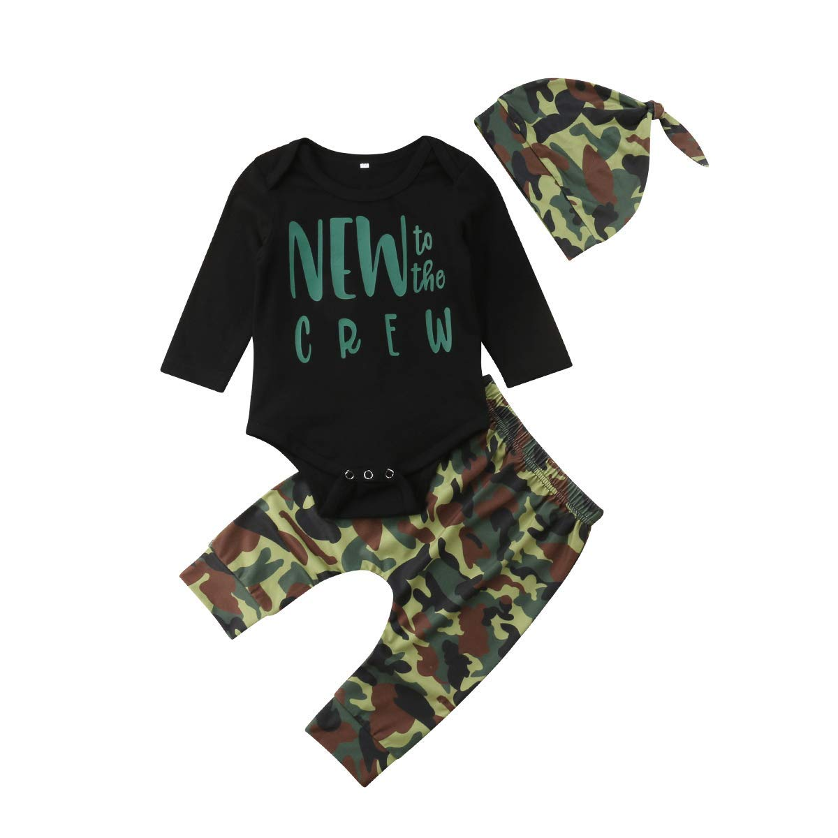 e0e74f73 Get Quotations · Baby Boy Girl Outfits Clothes New to The Crew Long Sleeve  Romper Bodysuits Camouflage Legging Pants