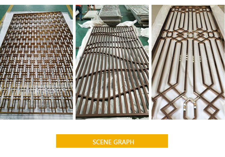 Home Hotel Room Divider Rose Gold Color 304  Stainless Steel Decorative Metal Screen Patterns Partition