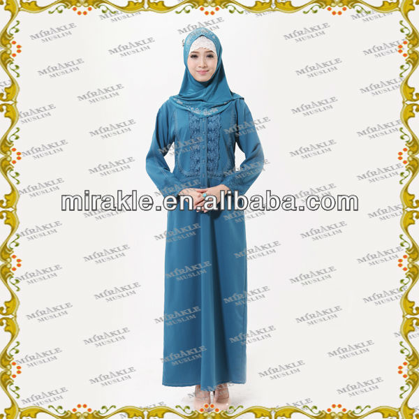 MF19946 muslim long denim dresses for women