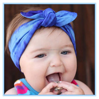 Latest Baby Hair Accessories Tie Dye Stretchy Knotted Headband Cotton Rabbit Ear Baby Headband