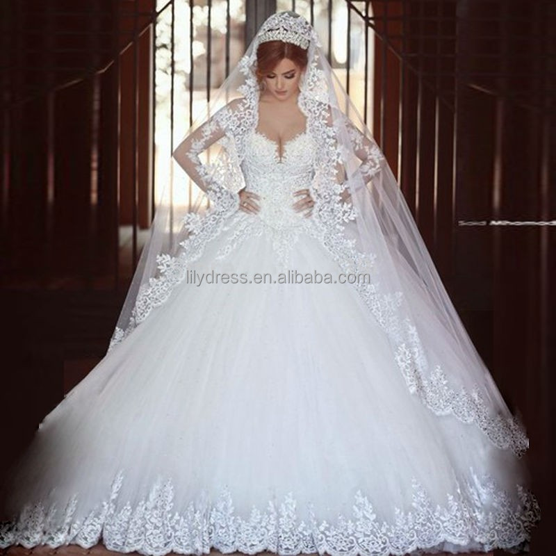 Personalizado puffy vestido de bola de manga larga vestido de las ...