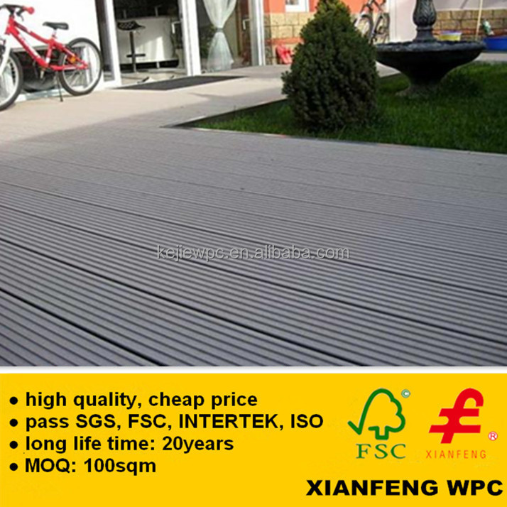 Long Life Time Grooves Wooden Plastic Composite Flooring WPC Tiles For Exterior Garden Floor Decking