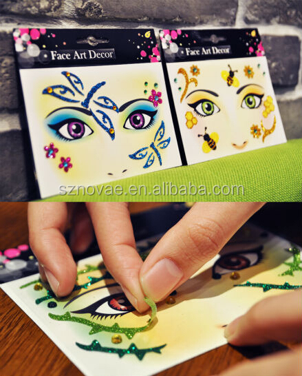 DS0213F CE ROHS Kitty Design Glitter Temporary Face Sticker Tattoo for Halloween Festivals