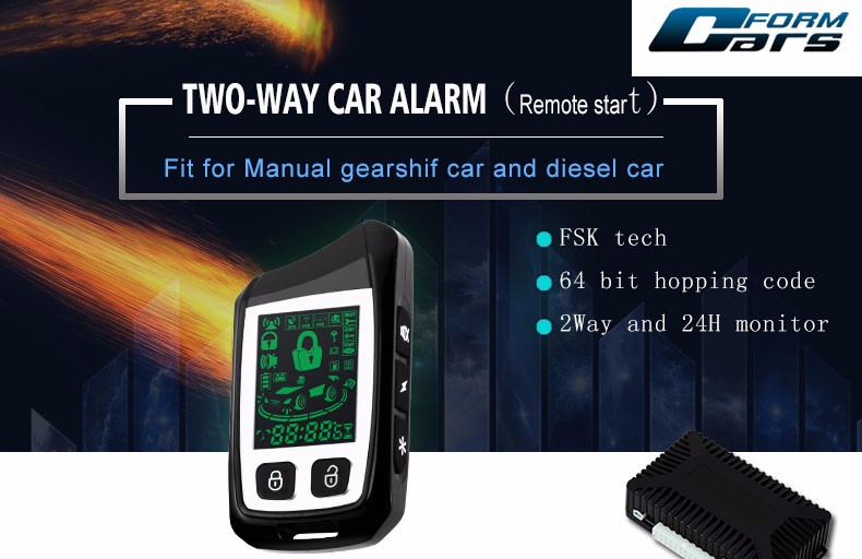 2 Way Paging Car Alarm Lcd Remote Starter With Rechargeable