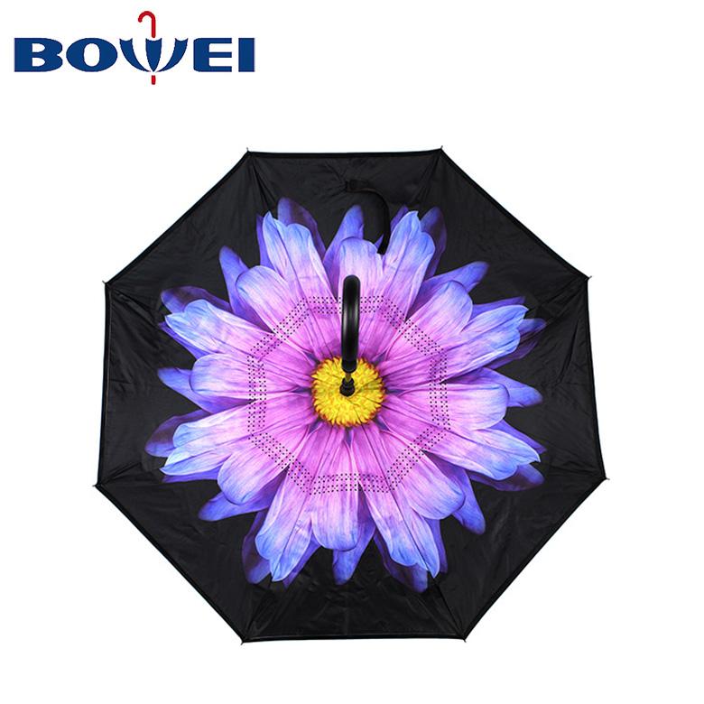 Wholesale double canopy golf umbrella chamomile auto open  flower flora design Pongee inversed umbrella with C handle