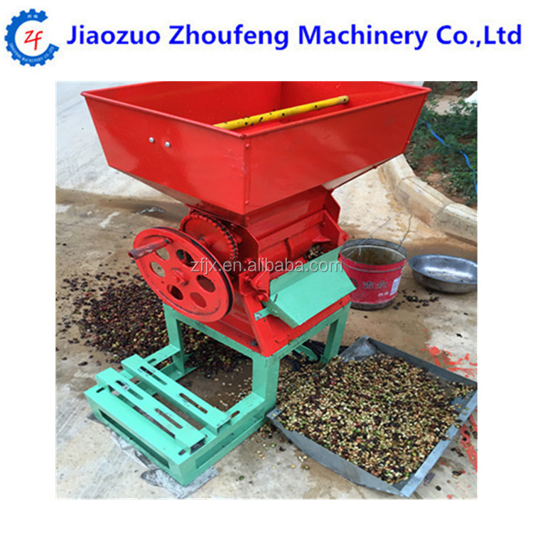Manual hand operate fresh coffee bean pulper huller peeling thresher peeler sheller machine price (Skype:zhoufeng1113)