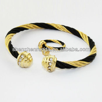 316l Stainless Steel Jewelry Gold Cable Wire Cz Bangle Sets And Ring Made In