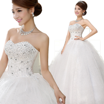 Cheap Stock Strapless Wedding Dresses Ruffled Plus Size Corset Bridal Gown with Lace-up back