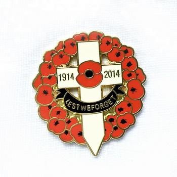 Lest We Forget Hard Enamel Metal Poppy Flower Lapel Pin Badge Buy