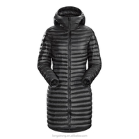 LS753 Custom black long 100% polyester down jacket for winters woman