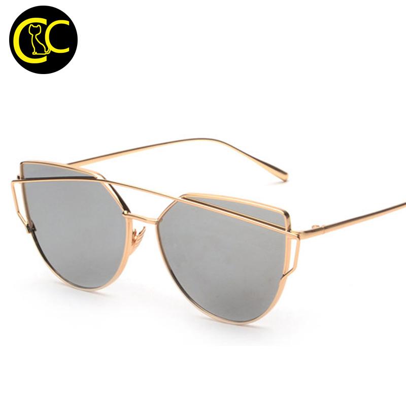 913ad5eb2 الأزياء القط العين الرجعية السيدات روز الذهب النظارات الشمسية المرأة  العلامة التجارية مصمم المعادن خمر مرآة