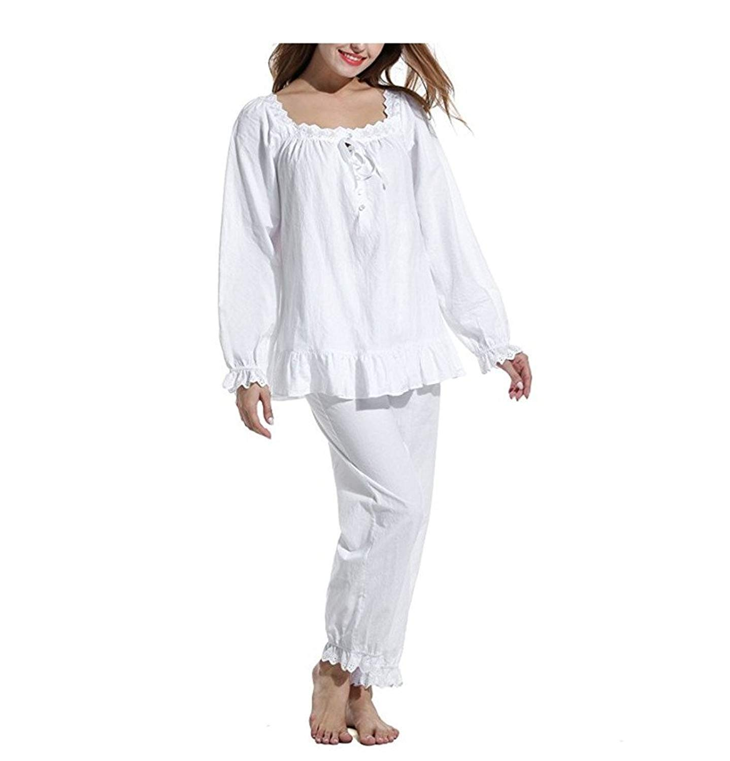 8f5354bdec Get Quotations · Womens 2 Set Cotton Victorian White Long Sleeve Pajama Set Nightgown  Sleepwear