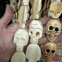 OB071 Excellent Quality, Drill top to bottom ,Ox Bone Hand Carved Bone Skull beads