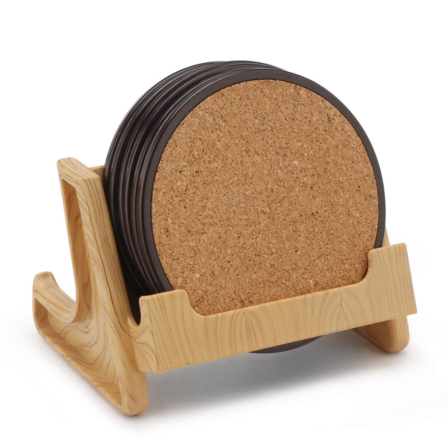 Cork Drink Coasters, Segarty Set of 6 Round Edges 3.6'' X 3.6'' Tabletop Cork Coasters & Coaster Holder, Reusable Cork Mat for Drinks At Home, Office, Cottage