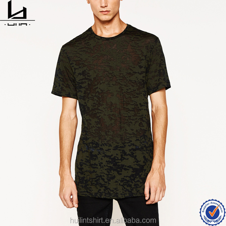 Thailand clothing manufacturers wholesale crew neck long line camouflage t shirt men