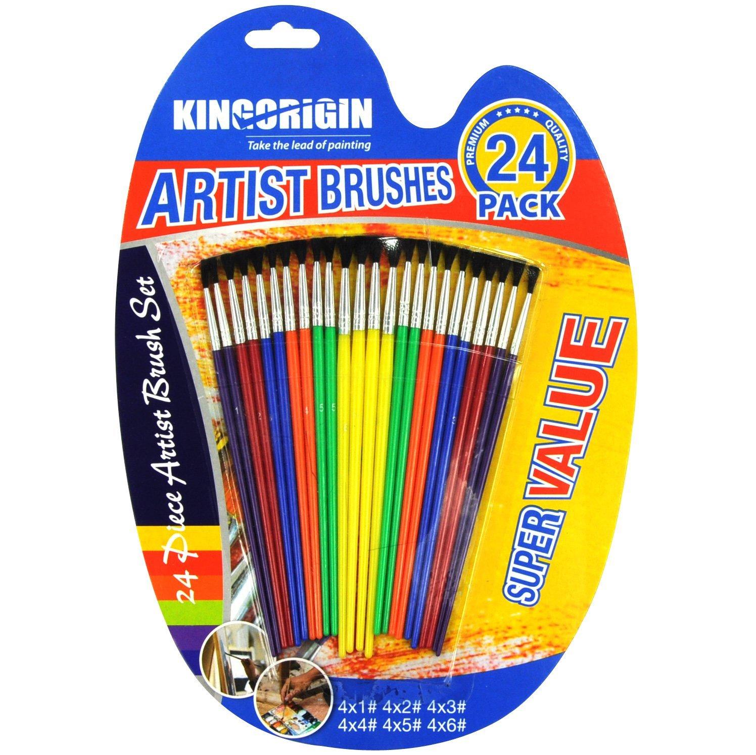 KingOrigin 10055B Premium Artist Brush with Color Handle Set 24-piece paint brush