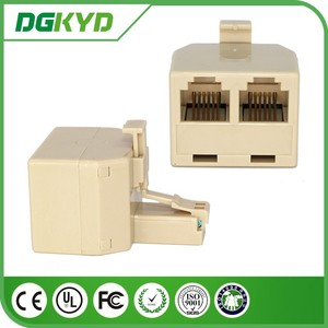 China Supplier KRJ-US026-66-66X2 Phone Adapter RJ11 female jack Splitter