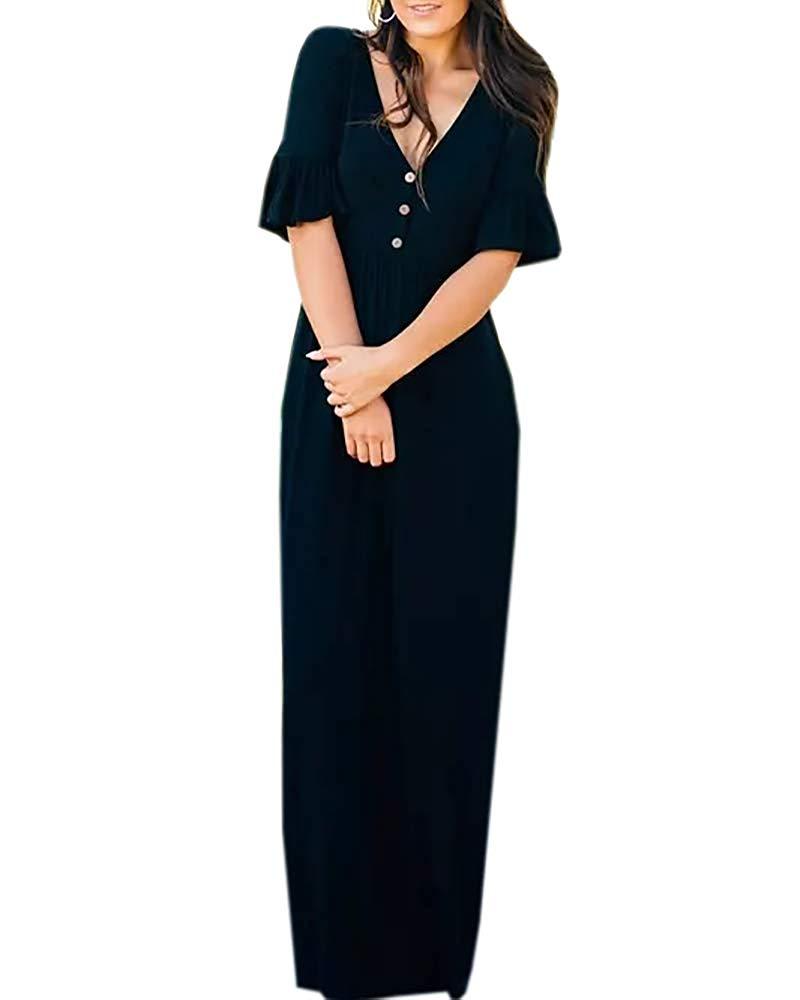 7310223b463 Get Quotations · Mafulus Womens V Neck Maxi Dresses Short Sleeve Ruffle  Henley Button Casual Long Dress