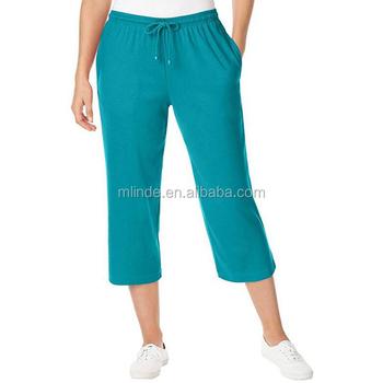 de8898eca5 Moda feminina Corrida Personalizada Plus Size Calças Capri Em Esporte Suave  Malha Por Atacado Em Branco