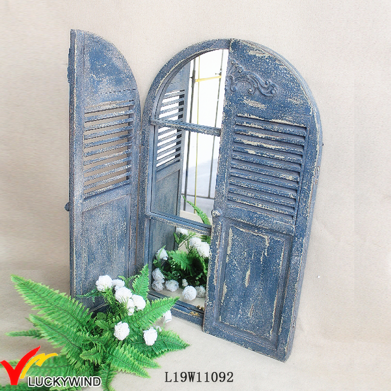 blue FSC vintage shabby chic antique decor shutter window wall mirror