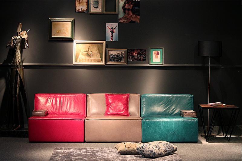Colorful Burnished Leather Floor Sofa Set Industrial Loft Style Living Room  Furniture