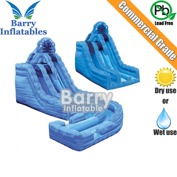 Blue ice wet or dry inflatable slide with landing