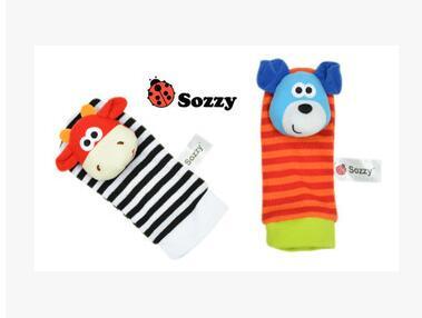 Sozzy 4pcs=2 pcs waist+2 pcs socks Infant Baby Kids Sock rattle toys Wrist Rattle and Foot Socks 0~24 Months