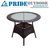 Furniture Manufacturer Outdoor Kitchen Promotion Modern Dining Round Tea Glass Dining Table