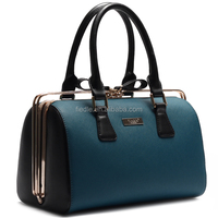 High quality trendy metal clip leather custom cosmetic bag satchel bag