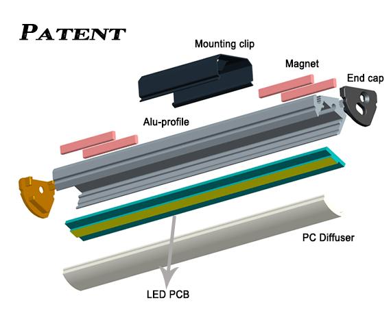 Magnet Retail Shelving Shop LED Linear Light Bar LED Aluminum strip Profile