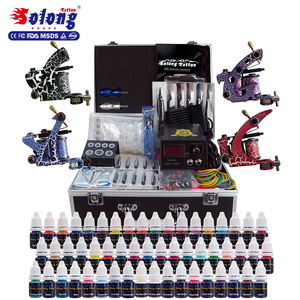 Solong Tattoo Machine Set 4Pro Gun Power Supply Needle Tip Body Decorate  Best Quality Tattoo Kit Professional With Aluminum Case