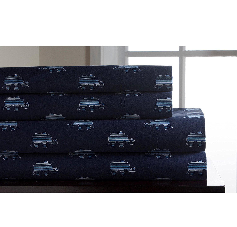 OSK 4 Piece Girls Indigo Blue Whimsical Flair Elephant Sheet Queen Set, Dark Blue Color Allover Animal Pattern Jungle Zoo Kids Bedding For Bedroom, Modern Casual Teen Safari African Themed, Cotton
