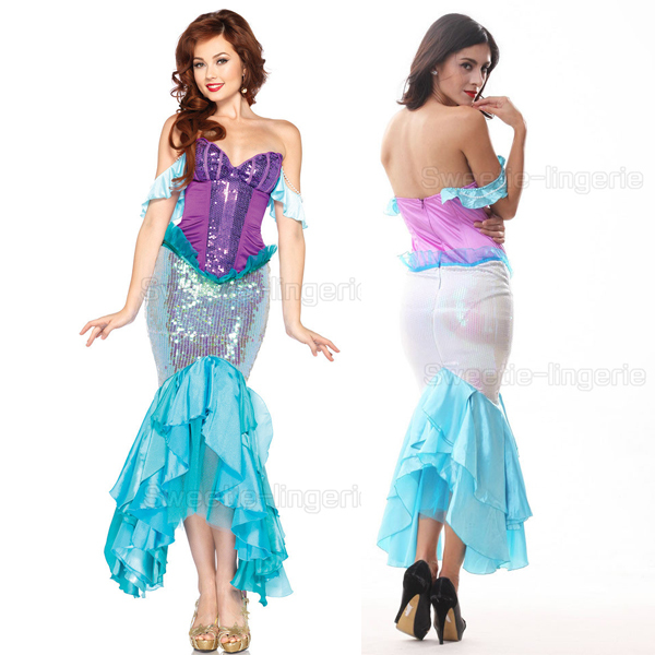 Sexy Sequin mermaid tail costume Beaeds Halloween costumes for women Zipper Cosplay Dress Sexy shining Club Wear Show Time Dress