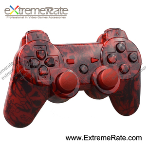 red camouflage hydro dipped replacement parts shell for ps3 wireless controller with full set buttons accessories
