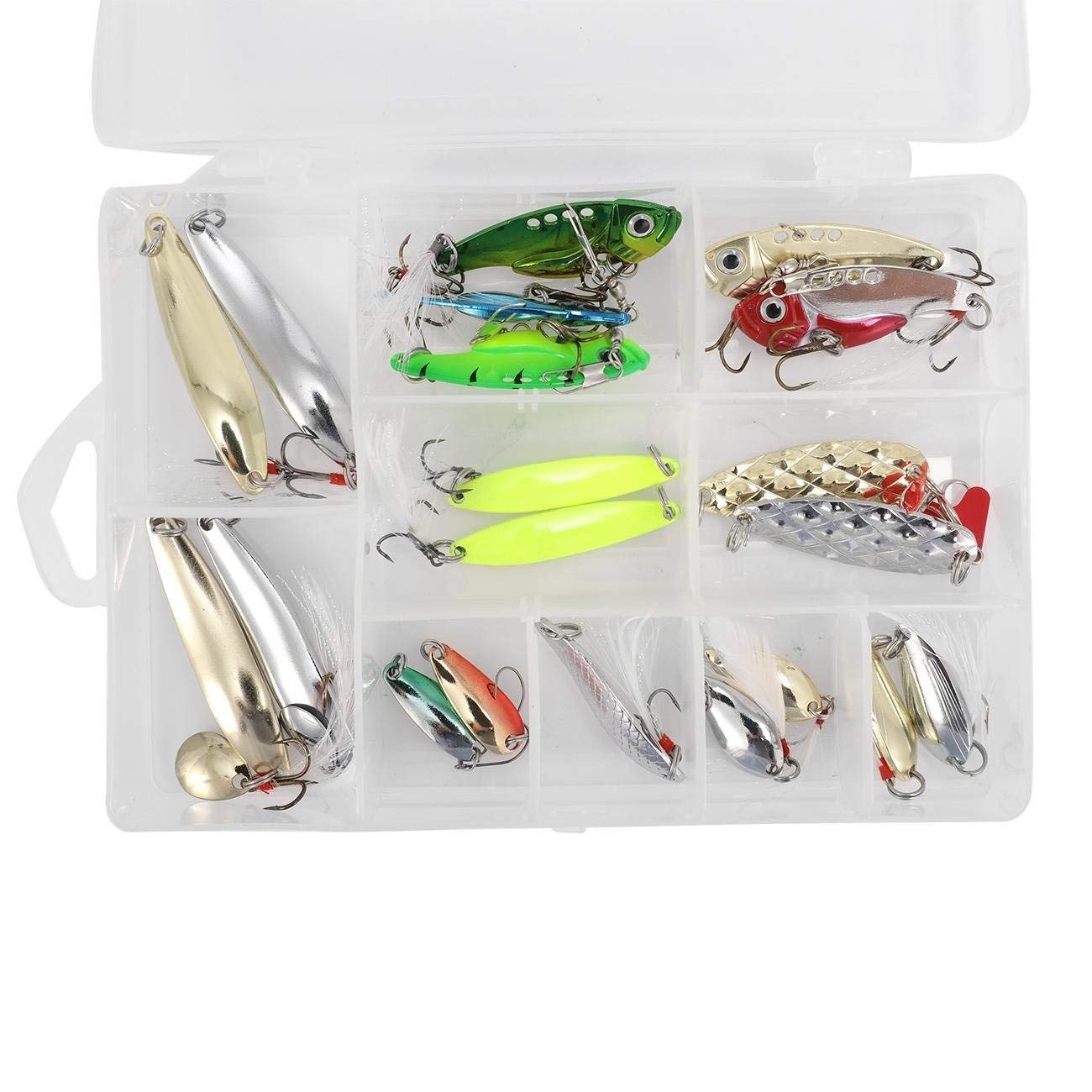 Dyna-Living Fishing Spoons Set Fishing Lures Metal VIB Spoons Spinner Hard Baits Tackle Set for Trout Bass Salmon Freshwater Saltwater