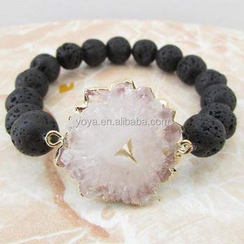 Brh1461 Fashion New Unique Style Black Lava Beaded Agate Geode Bracelet