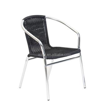Outdoor Stapeln Aluminium Rattan Stuhl Schwarz Buy China Rattan