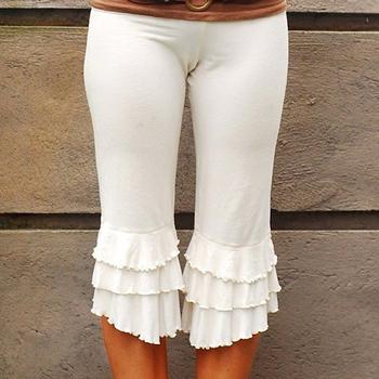 b6645983f8de44 kurze weiße Hosen der Art und Weisedamen, halbe weiße Hosen der Rüsche,  kurze Hosen