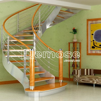 Exterior Interior Wood Stairs With Stainless Steel Design For Small House Solid Staircase Stsainless