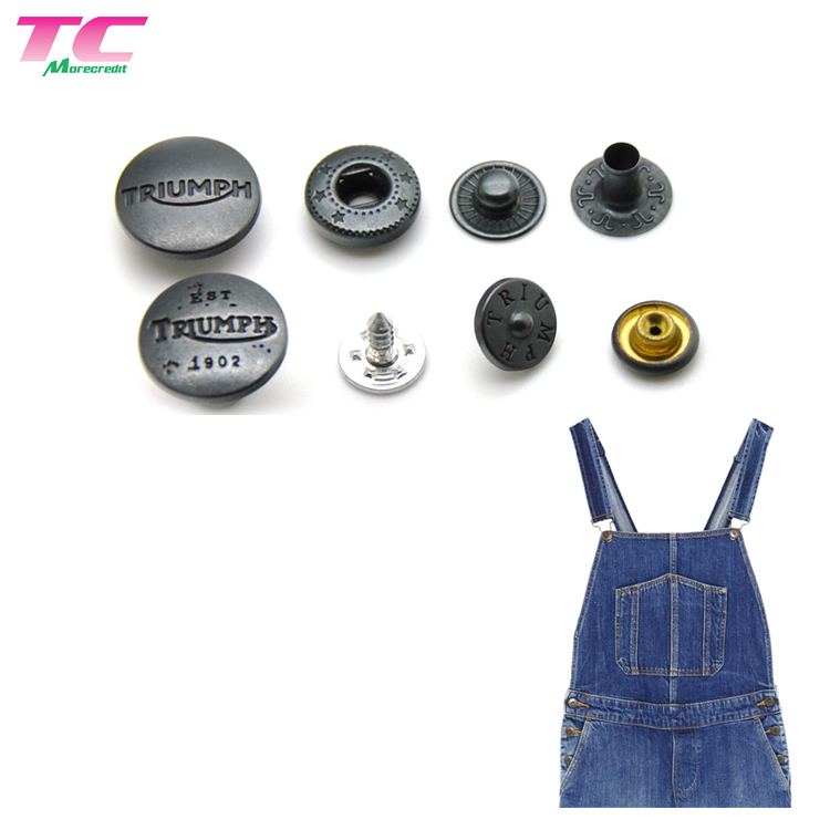 Personalized Engraved Logo Oval Shape Zinc Alloy 4 parts Press Snap Fastener Jeans Button