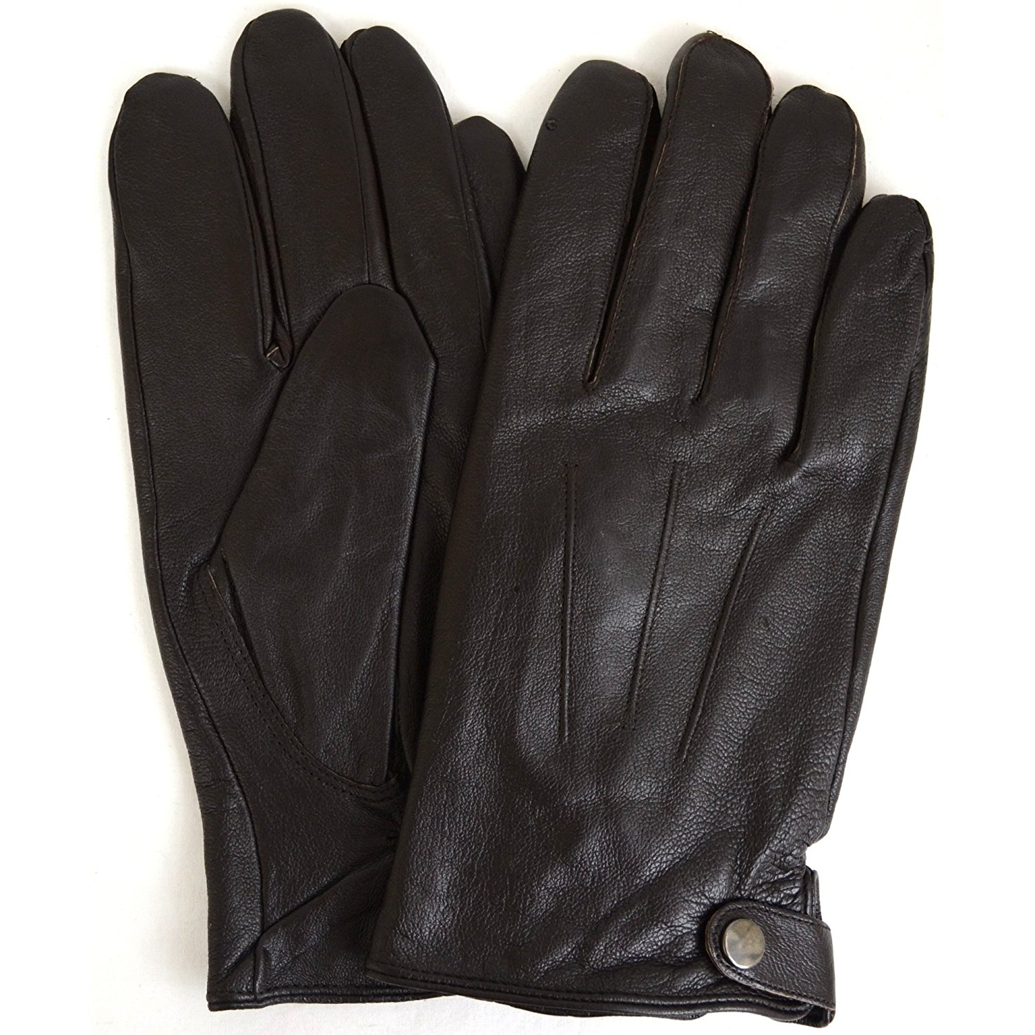 Mens Premium Soft Leather Glove with Thick Knitted Cuff , 3 Point Stitch and Warm Fleece Lining