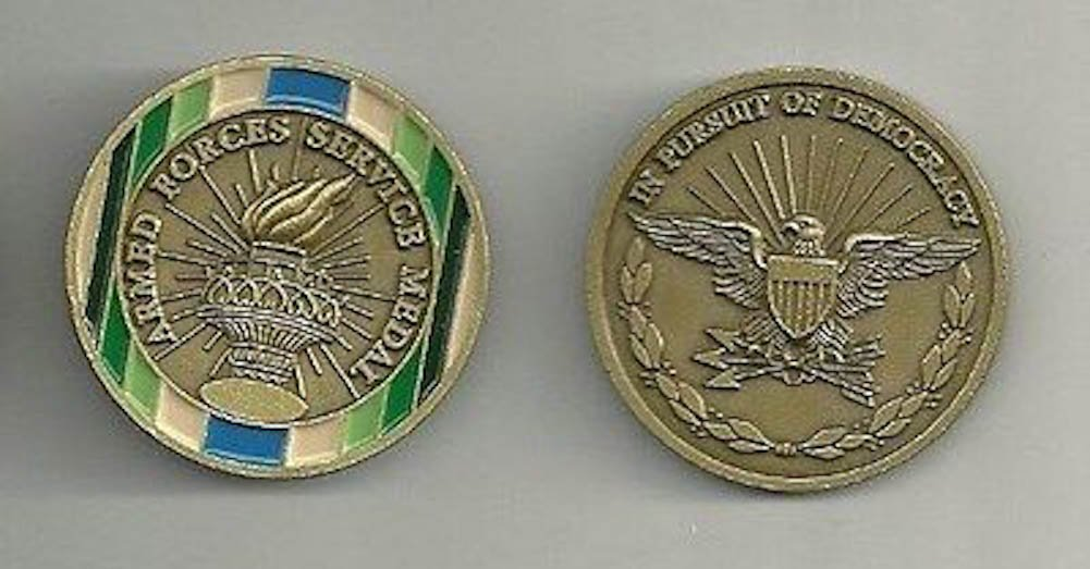 Armed Forces Service Medal Ribbon Engravable Challenge Coin