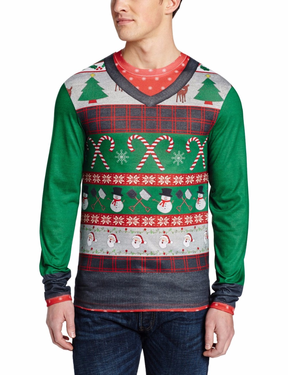 Men Green Sweater Red Striped Pattern Custom Christmas Sweater